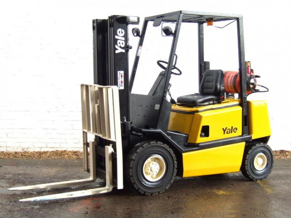 Worker Shows Skills In Gas Forklift